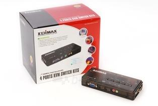 Edimax KVM USB SOHO Switch 4 kompiuteriams (kabelis komplekte) Paveikslėlis 1 iš 3 250257501447