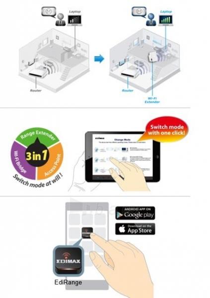 Edimax N300 Universal WiFi Extender/Repeater MINI Paveikslėlis 4 iš 7 250257100333