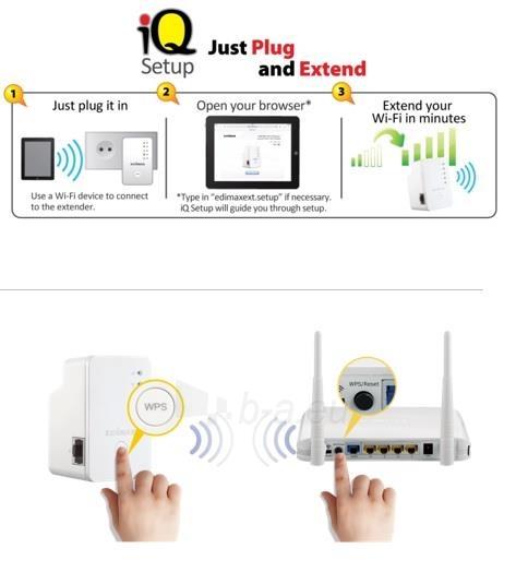 Edimax N300 Universal WiFi Extender/Repeater MINI Paveikslėlis 5 iš 7 250257100333