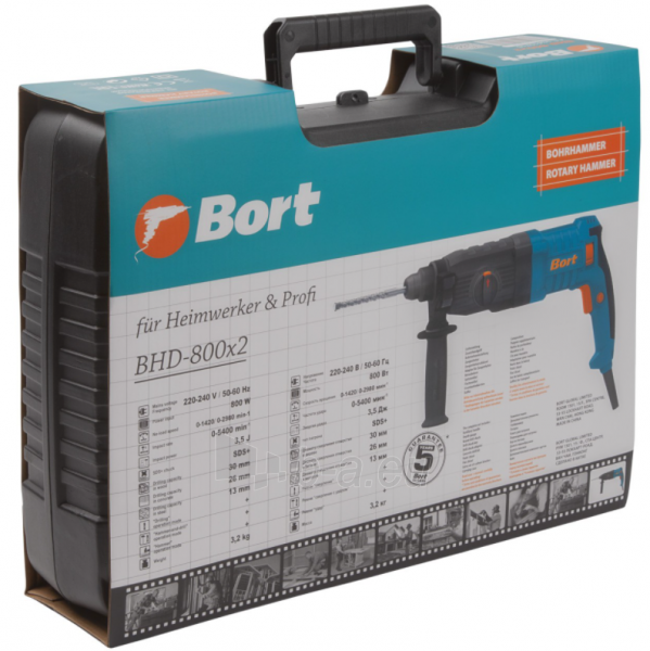 Elektrinis perforatorius BORT BHD-800X2, 3,5J Paveikslėlis 7 iš 8 310820241674