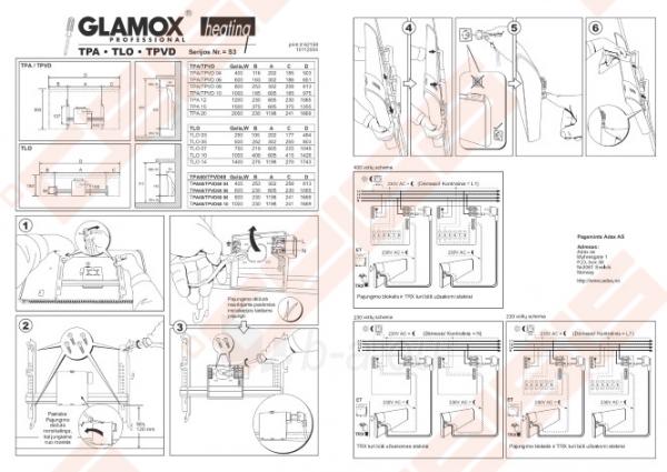 Elektrinis sieninis radiatorius Glamox tpa12 Paveikslėlis 5 iš 5 270683000049