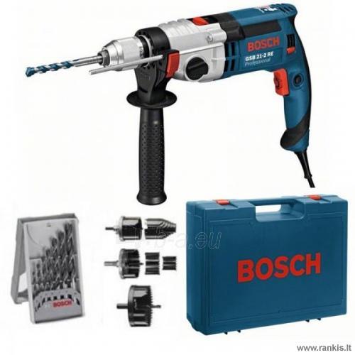 BOSCH GSB 21-2 RE Professional elektrinis smūginis gręžtuvas + 6 x gręžimo karūnėlės + 6 x grąžtai medienai + lagaminas Paveikslėlis 1 iš 1 310820049804