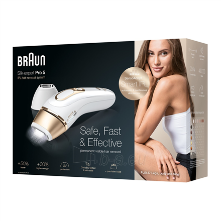 Epiliatorius Braun Epilator PL 5137 IPL Hair Removal System, Bulb lifetime (flashes) 400000, Number of intensity levels 10, Number of speeds 3, White/Gold Paveikslėlis 4 iš 4 310820222233