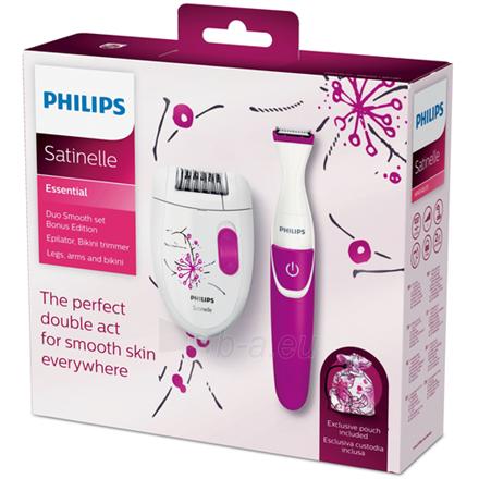 Epiliatorius Philips Epilator Satinelle Essential HP6548/01 Cordless, Number of speeds 1, White/Purple Paveikslėlis 3 iš 6 310820222240