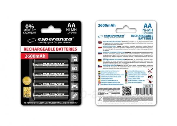 Esperanza EZA106 Įkraunama baterija Ni-MH AA 2600MAH x4 Paveikslėlis 1 iš 2 310820044262