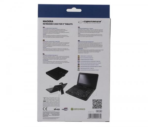 ESPERANZA Klaviatūra +Dėklas 9planš. kompiuteriui |Juodas|Ekologinius odo Paveikslėlis 6 iš 6 310820014350