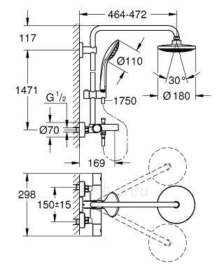 Euphoria dušo-vonios sistema, termostatas, viršutinės galvos diam. 180mm, stovo ilgis 1471 mm, dušo šlangos ilgis 1750 m Paveikslėlis 2 iš 2 310820165727