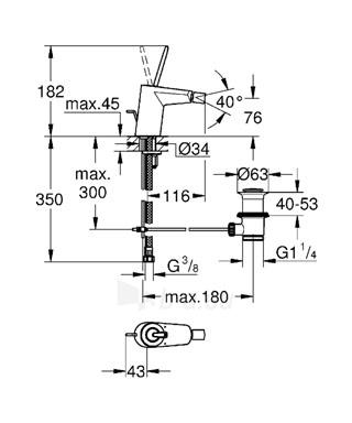 EURODISC JOYSTICK bidė maišytuvas su dugno vožtuvu Paveikslėlis 2 iš 2 310820163797