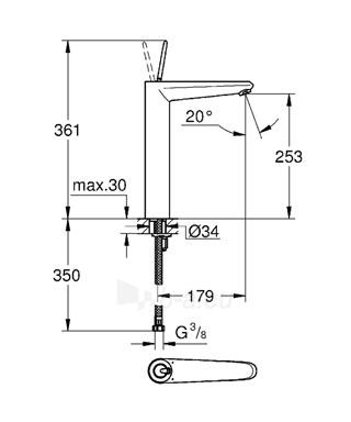 EURODISC JOYSTICK XL praustuvo maišytuvas pastatomam praustuvui, baltas Paveikslėlis 2 iš 2 310820163795