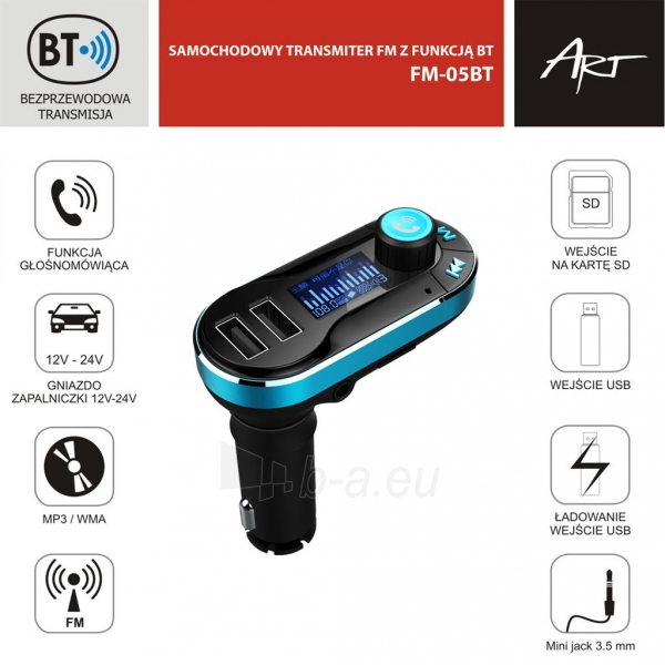 FM moduliatorius ART CAR TRANSMITER FM MP3 display 1.4 with BT, remote control USB/SD FM-05BT Paveikslėlis 4 iš 5 310820067784