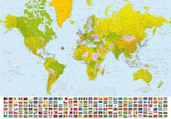 280 MAP OF THE WORLD 3,66x2,54 m, 8 dalių fototapetas Paveikslėlis 1 iš 1 30110100021