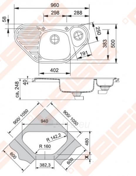 Fragranit plautuvė FRANKE Calypso COG651-E su ekscentriniu ventiliu, grafito spalvos Paveikslėlis 2 iš 2 270712000640