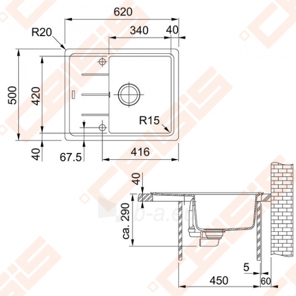 Fragranit universali pagal įstatymo puses plautuvė FRANKE Basis BFG611-62 su ventiliu, juodos spalvos Paveikslėlis 2 iš 2 270712000713