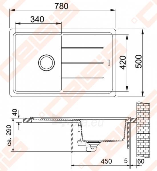 Fragranit universali pagal įstatymo puses plautuvė FRANKE Basis BFG611 su ventiliu, akmens pilkos spalvos Paveikslėlis 2 iš 2 270712000700