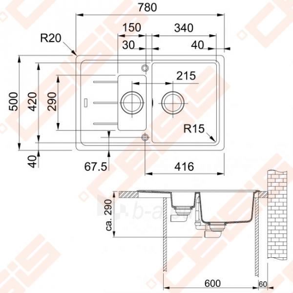 Fragranit universali pagal įstatymo puses plautuvė FRANKE Basis BFG651-78 su ventiliu ir indu, akmens pilkos spalvos Paveikslėlis 2 iš 2 270712000728