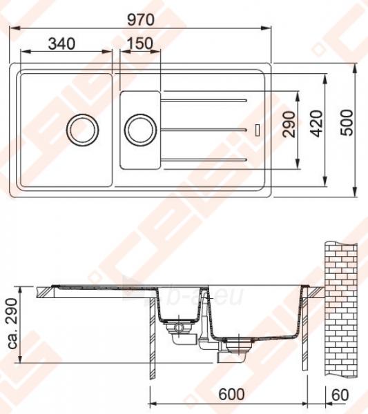 Fragranit universali pagal įstatymo puses plautuvė FRANKE Basis BFG651 su ventiliu ir indu, grafito spalvos Paveikslėlis 2 iš 2 270712000720