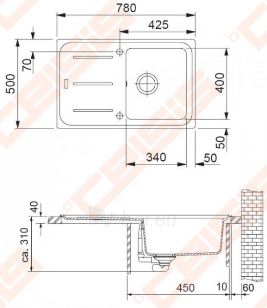 Fragranit universali plautuvė FRANKE Impact G IMG611su ventiliu ir indu,grafito spalvos Paveikslėlis 2 iš 3 270712000783
