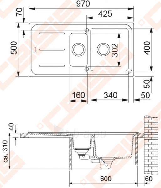 Fragranit universali plautuvė FRANKE Impact G IMG651 su ventiliu ir indu, grafito spalvos Paveikslėlis 2 iš 3 270712000786