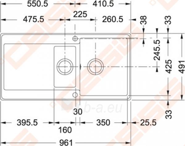 Fragranit universali plautuvė FRANKE Maris MRG251 su ekscentriniu ventiliu ir indu, biežinė Paveikslėlis 2 iš 3 270712000805