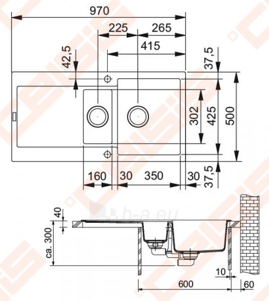 Fragranit universali plautuvė FRANKE Maris MRG651 su ventiliu ir indu, biežinės spalvos Paveikslėlis 2 iš 3 270712000824