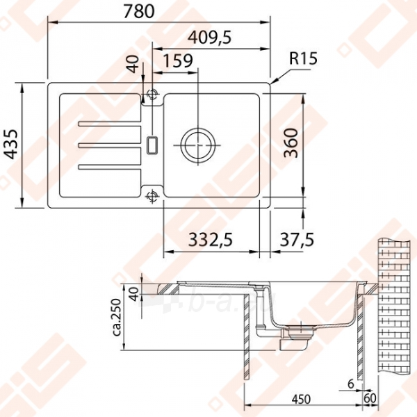 Fragranit universali plautuvė FRANKE Strata STG614-78 su ekscentriniu ventiliu, akmens pilka spalvos Paveikslėlis 2 iš 2 270712000848