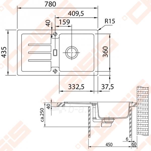 Fragranit universali plautuvė FRANKE Strata STG614-78 su užkemšamu ventiliu, akmens pilka spalvos Paveikslėlis 2 iš 2 270712000854