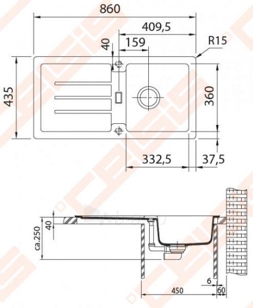 Fragranit universali plautuvė FRANKE Strata STG614 su ekscentriniu ventiliu, grafito spalvos Paveikslėlis 2 iš 3 270712000839
