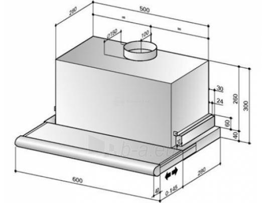 Tvaika nosūcējs BEST ES 24 ELR 2FM XS 90 cm Paveikslėlis 1 iš 4 250113001285
