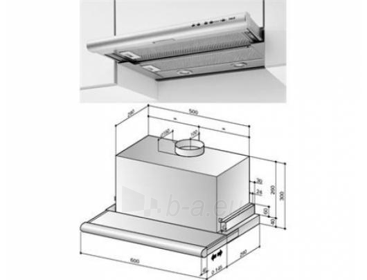Tvaika nosūcējs BEST ES 24 ELR 2FM XS 90 cm Paveikslėlis 3 iš 4 250113001285