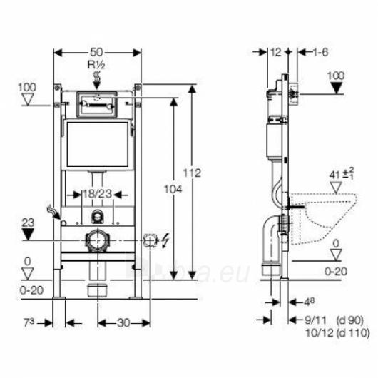 GEBERIT DUOFIX BASIC potinkinis WC bakelis su rėmu Paveikslėlis 2 iš 2 270740000034