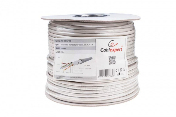 Gembird FTP foil shielded stranded cable, cat. 6, 7*0,18mm, CCA, 100m, gray Paveikslėlis 1 iš 2 250257440050