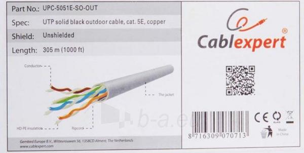 Gembird kabelis UTP,kat. 5e,viela,CU- grynas varis ritinys 305m pilkas išorinis Paveikslėlis 2 iš 6 250257440067