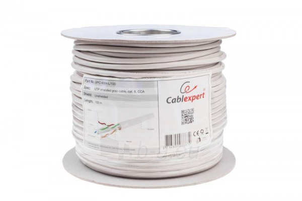 Gembird UTP stranded cable, cat. 6, CCA 100m, gray Paveikslėlis 1 iš 3 250257440048