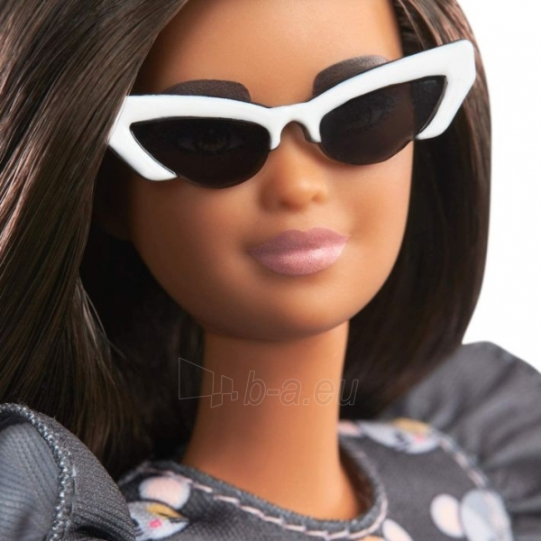 GHW54 Barbie Fashionistas Doll with Long Brunette Hair Wearing Mouse-Print Dress MATTEL Paveikslėlis 4 iš 6 310820252847