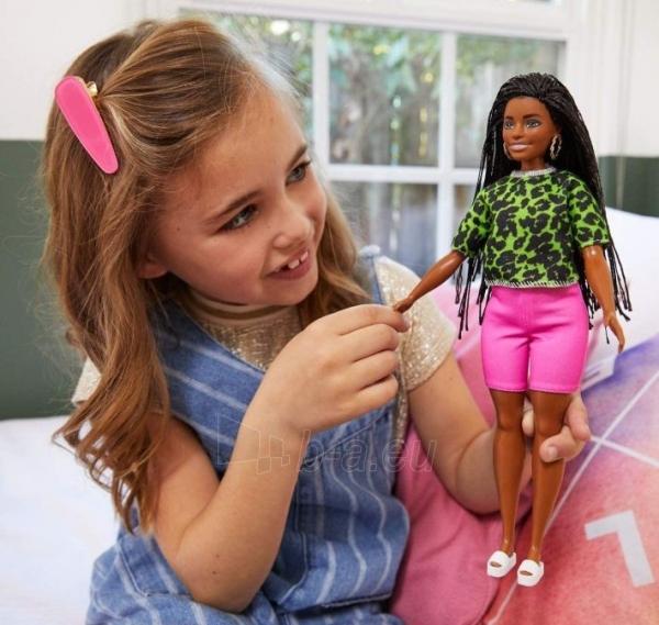 GHW58 Barbie Fashionistas Doll with Long Brunette Braids Wearing Neon Green Animal-Print Top MATTEL Paveikslėlis 3 iš 6 310820252848