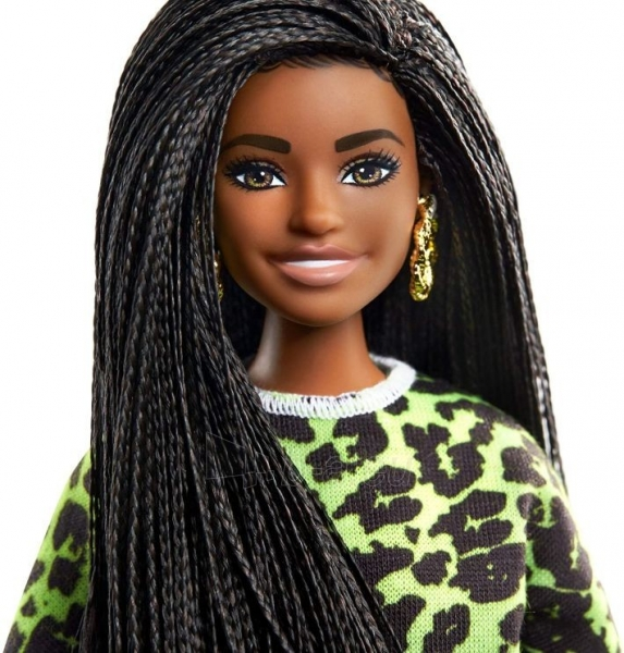 GHW58 Barbie Fashionistas Doll with Long Brunette Braids Wearing Neon Green Animal-Print Top MATTEL Paveikslėlis 4 iš 6 310820252848