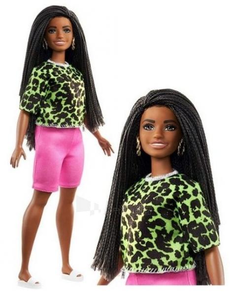 GHW58 Barbie Fashionistas Doll with Long Brunette Braids Wearing Neon Green Animal-Print Top MATTEL Paveikslėlis 5 iš 6 310820252848