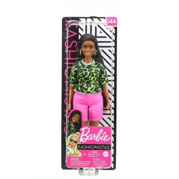 GHW58 Barbie Fashionistas Doll with Long Brunette Braids Wearing Neon Green Animal-Print Top MATTEL Paveikslėlis 6 iš 6 310820252848