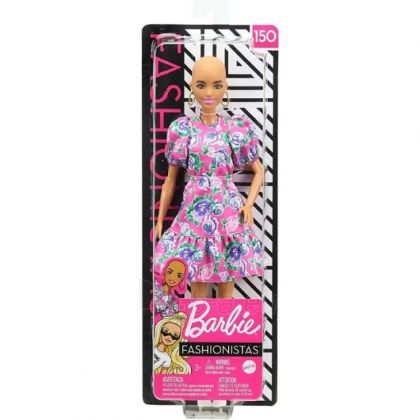 GHW64 Barbie Fashionistas Doll with No-Hair Look Wearing Pink Floral Dress MATTEL Paveikslėlis 3 iš 6 310820252849