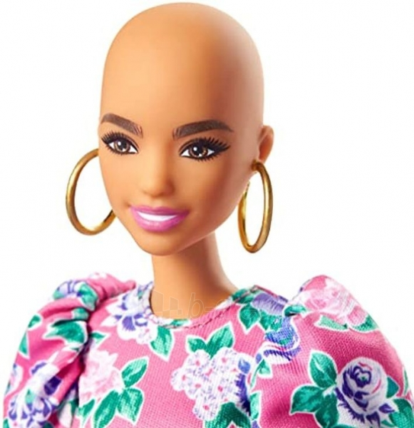 GHW64 Barbie Fashionistas Doll with No-Hair Look Wearing Pink Floral Dress MATTEL Paveikslėlis 4 iš 6 310820252849