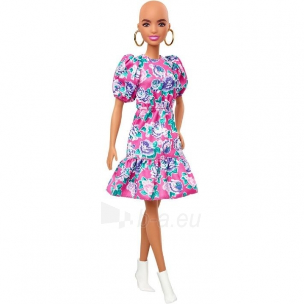GHW64 Barbie Fashionistas Doll with No-Hair Look Wearing Pink Floral Dress MATTEL Paveikslėlis 5 iš 6 310820252849