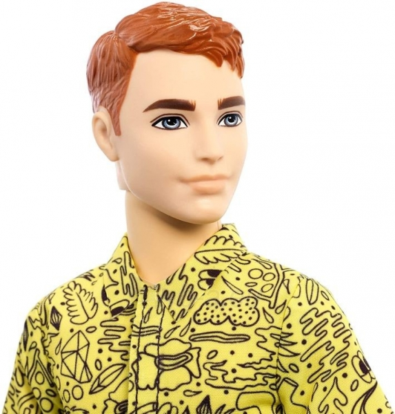 GHW67 Barbie Ken Fashionistas Doll with Red Hair and Graphic Yellow Shirt MATTEL Paveikslėlis 1 iš 6 310820252852