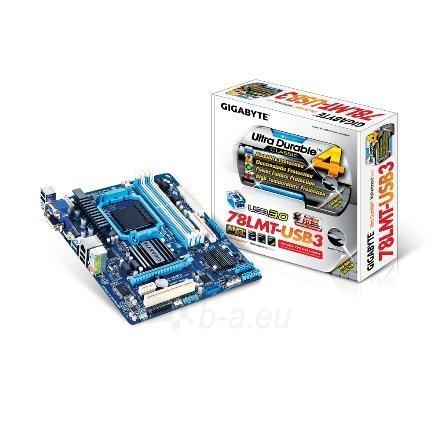 GIGABYTE GA-78LMT-USB3 / AM3+ / AMD 760G+SB710 / 4 x 1.5V DDR3 DIMM, Dual channel / Graphics: 1x D-Sub, 1xDVI-D, 1xHDMI Paveikslėlis 4 iš 4 250255050951