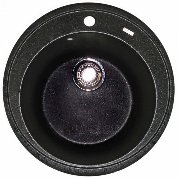 Granitinė plautuvė ROUND 2 black pearl su sifonu Paveikslėlis 1 iš 4 271521000189