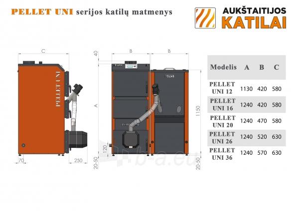 Granulinis katilas 36 kW komplekte su rotac. 36 kW degikliu, sraigtu, 800 l metaliniu bunkeriu Paveikslėlis 5 iš 6 310820254288