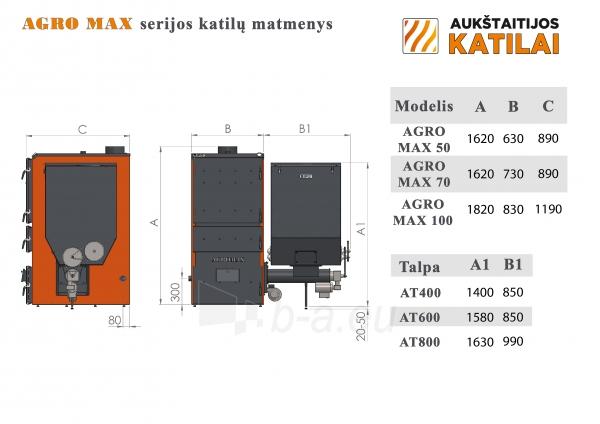 Granulinis katilas 50 kW, komplekte su 50 kW Zenono degikliu, 400 l bunkeriu Paveikslėlis 4 iš 5 310820254321