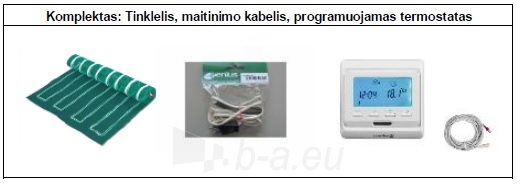 Grindų šildymo tinklelio PVMR.090250 komplektas su programuojamu termostatu Paveikslėlis 2 iš 2 310820039229