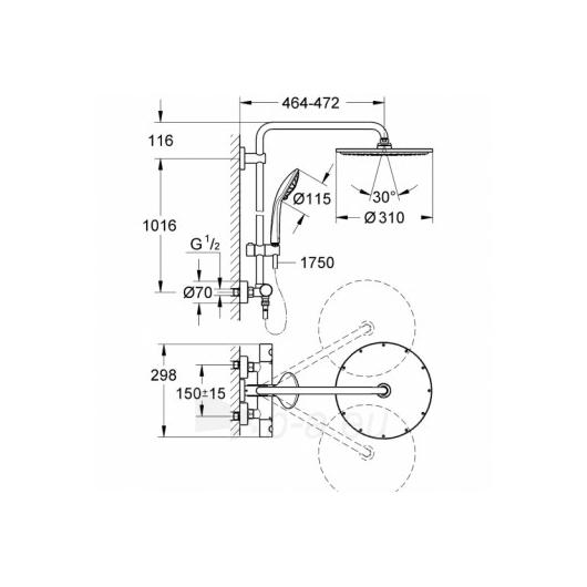 Grohe Euphoria XXL termostatinė lietaus dušo sistema Paveikslėlis 5 iš 6 270721000521