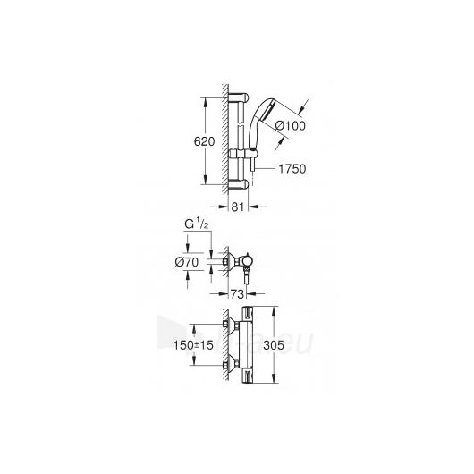 GROHE Grohtherm 800 termostatinis maišytuvas su dušo komplektu T Paveikslėlis 6 iš 7 270721000522