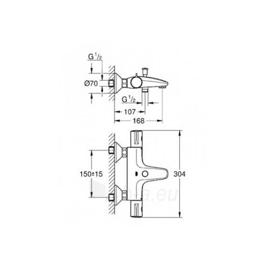 Grohe termostatinis vonios/dušo maišytuvas Grohtherm 800 Paveikslėlis 4 iš 5 270725000392